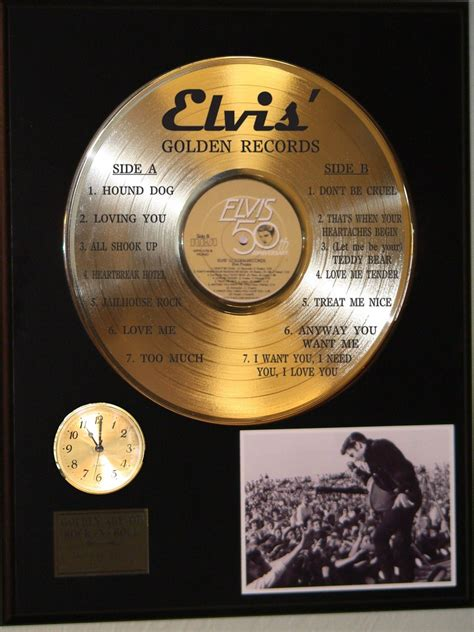 Housing Records Elvis Golden Records Gold Lp Ltd Edition Record Clock Display Gold Record