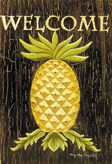 Outdoor Pineapple Decor by Custom Decor Flag Pineapple Welcome Decorative Flag At