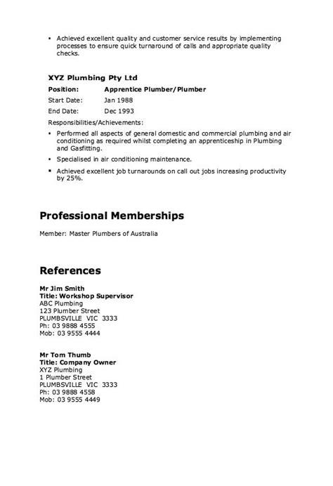 Plumber Resume Template by Master Plumber Resume Exle Http Resumesdesign
