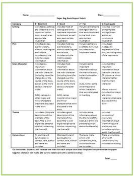 Simple Book Report Rubric by Paper Bag Book Report And Rubric Language Arts Grades 6 9 By Mills