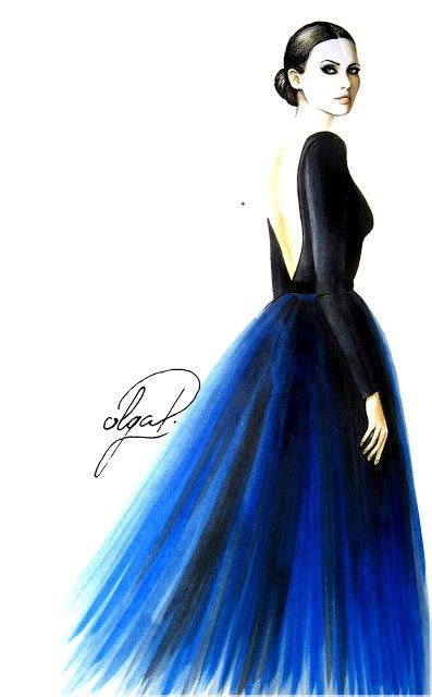 in blue evening dress fashion illustration copic