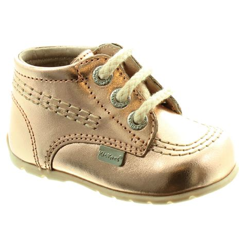 kickers leather kick hi baby shoes in gold in gold
