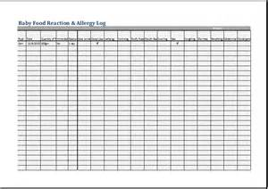 baby log book template baby food reaction and allergy log word excel templates