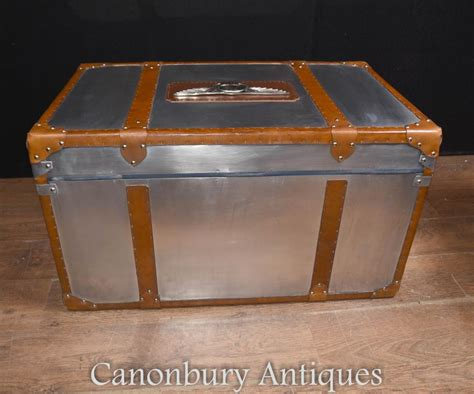 Luggage Trunk Coffee Table Chrome Leather Aston Martin Luggage Trunk Steamer Side Coffee Table