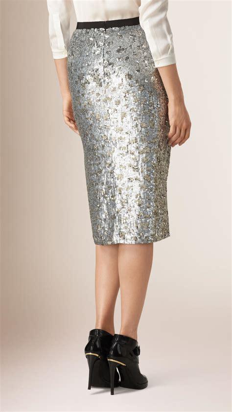 burberry sequin pencil skirt in metallic lyst
