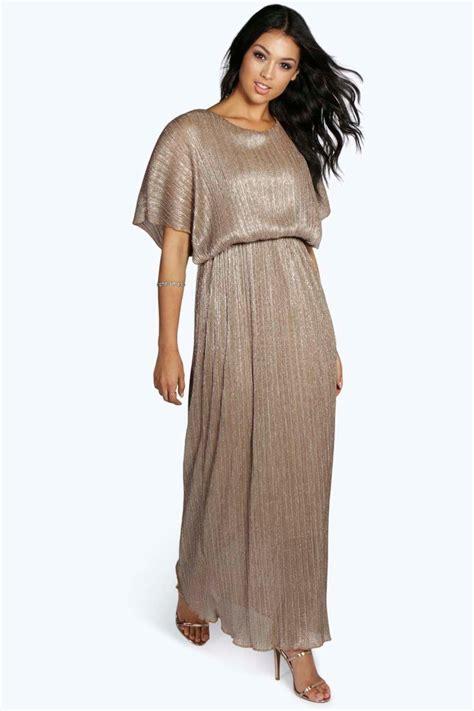 Metallic Dresses by Millie Metallic Pleat Maxi Dress At Boohoo