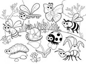 bugs garden colouring pages
