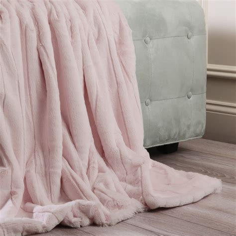 felldecke rosa luxe mink faux fur throw blanket color light pink size