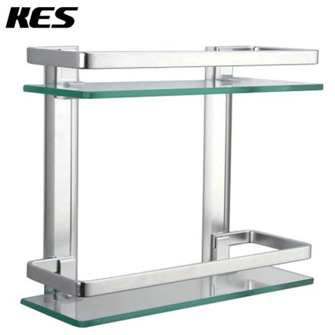 Bathroom Glass Shelves With Rail Kes Bathroom 2 Tier Glass Shelf With Rail Aluminum And Thick Tempered Glass Shower