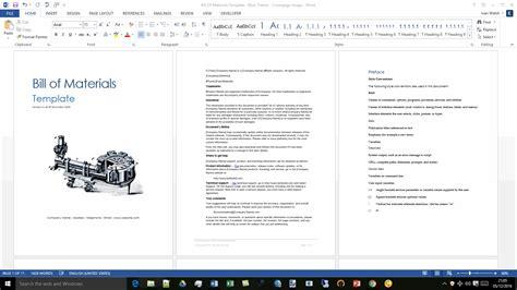 bill of materials template bill of materials template instant downlaod