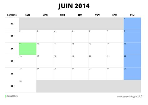 Calendrier Juin Calendrier De Juin 2014 224 Imprimer