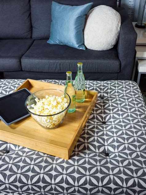 turn ottoman into coffee table turn an coffee table into an upholstered storage