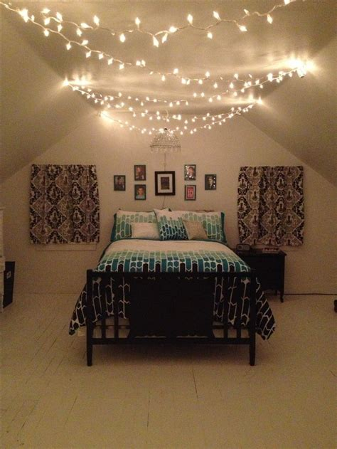 Teenage Bedroom Black White And Teal With Christmas Lights On Bedroom Ceiling