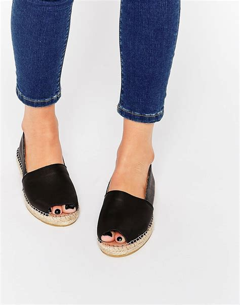 espadrille flat shoes selected selected femme kamilla peep toe black leather