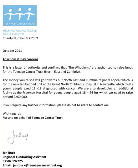 letter of authority from charity the whodlums support cancer trust