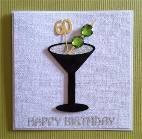Handmade 60th Birthday Cards - shaken not stirred 60 handmade 60th birthday cocktail