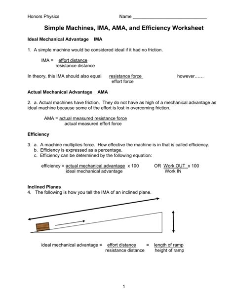 Calculating Mechanical Advantage Worksheet With Answers by Calculating Mechanical Advantage Worksheet Geersc