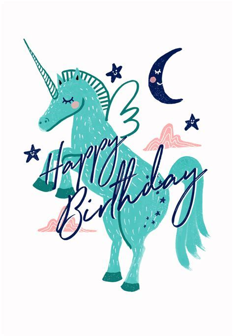 Winged Unicorn Birthday Card   Greetings Island