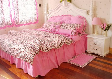pink cheetah comforter set korean pink leopard print princess bedding comforter set