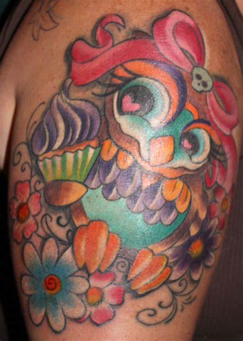 new school tattoo artists in philadelphia pretty owl cartoon animal bow girlie cupcake