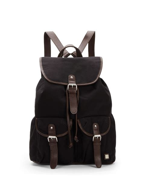 Aproncelemek Canvas And Synthetic Leather Black block headwear faux leather trim canvas backpack in black for lyst