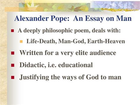 pope s poems and prose an essay on man epistle i summary and