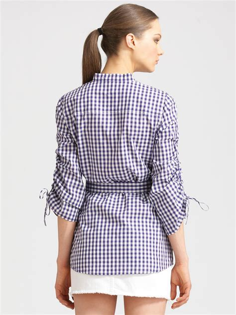 To Hem White Aron burch aaron belted gingham tunic in blue lyst