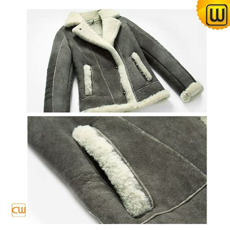 Attention Bomber Grey By Dn2group sheepskin shearling jacket for cw614028