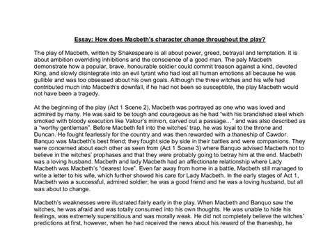 writing a sociology paper how does macbeth s character change throughout the play