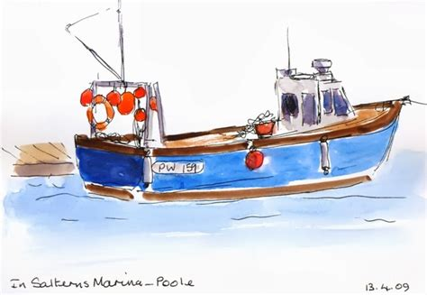 fishing boat sketch angela batchelor artist paintings in acrylic