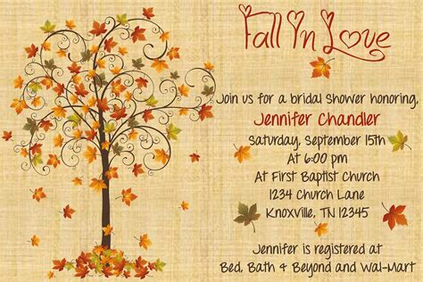 Fall Bridal Shower Invitations by Fall In Bridal Shower Invitation By Whateveris On Etsy