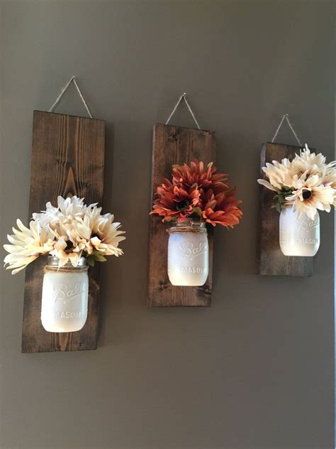 Fall Wall Sconce Individual Mason Jar Sconce Flower | fall wall sconce individual mason jar sconce flower