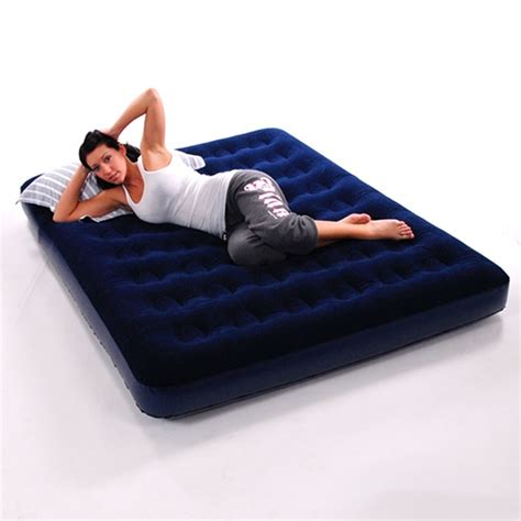 blowup bed double inflatable flocked blow up air bed airbed guest