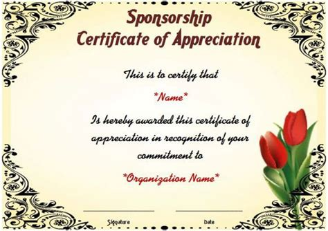 gratitude certificate template certificate of appreciation for sponsorship thank you
