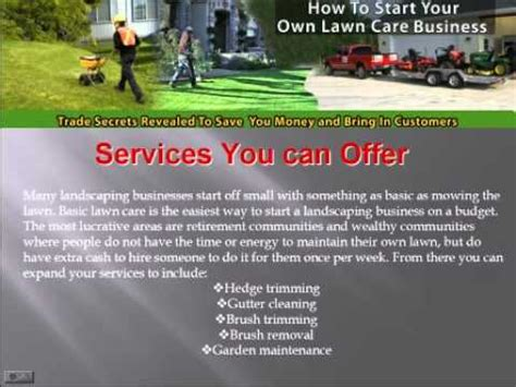 starting your own lawn care business make youtube