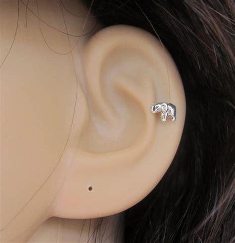 tiny baby elephant cartilage earring elephant by