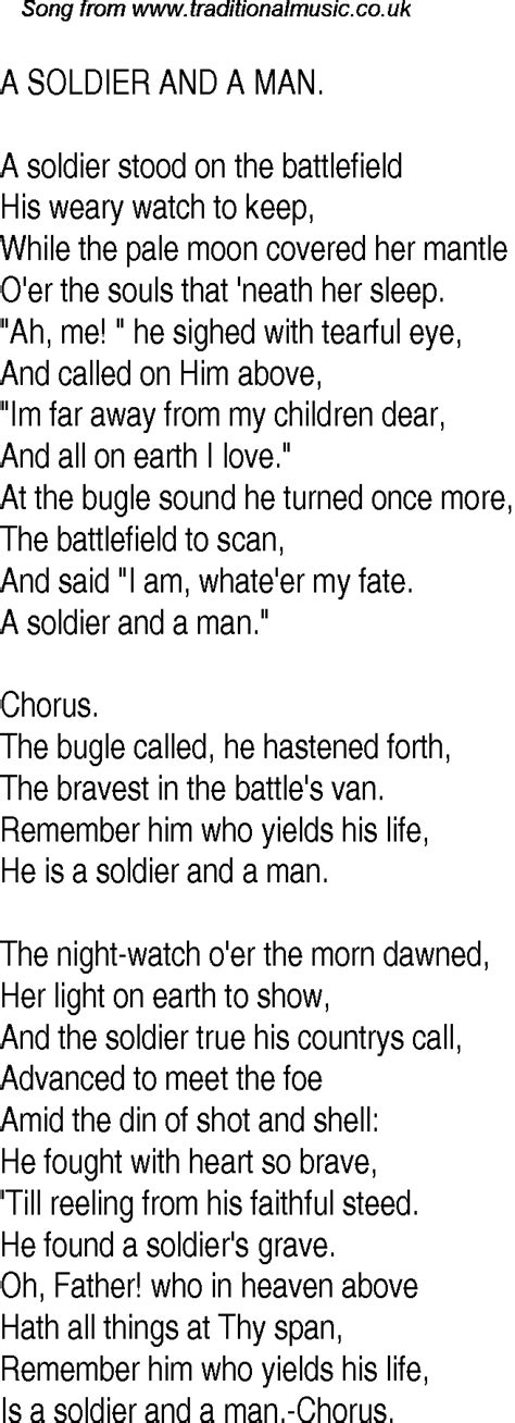 Old Time Song Lyrics For 12 A Soldier And A Man