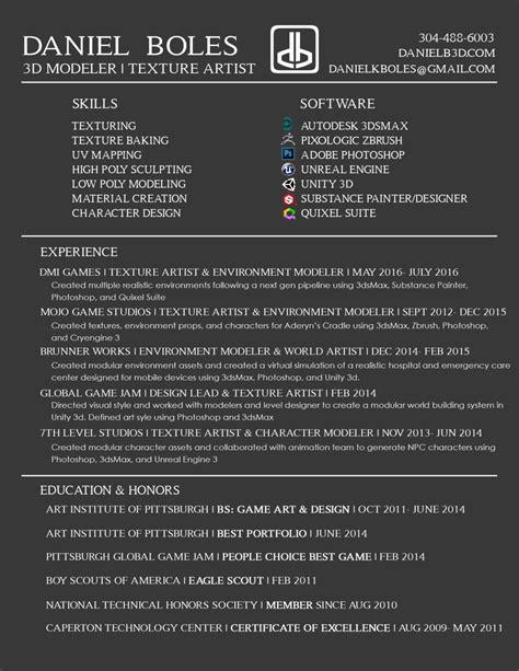 Resume 3d Artist by 3d Artist Resume Resume Ideas