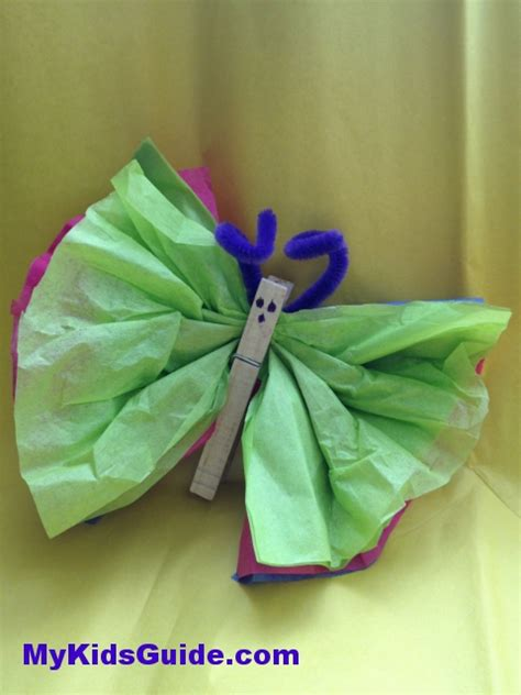 Tissue Paper Butterfly Craft - butterfly craft roundup munchkins and