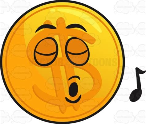 singing emoji singing golden coin emoji cartoon clipart vector toons