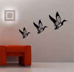 Art Wall Stickers 3 X Retro Flying Ducks Wall Art Sticker Vinyl Lounge