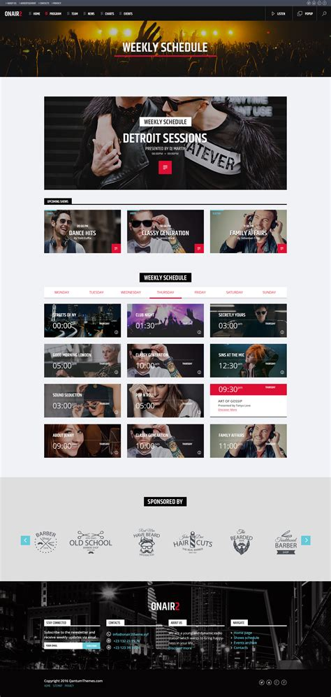 radio station schedule template onair2 radio station psd website template by