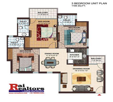 3bhk house plans 3 bhk layout rrastha atrium 37d gurgaon buy sell