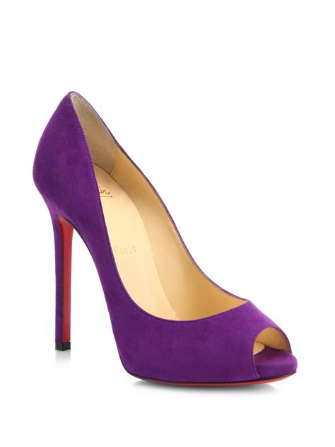 Purple And Lilac Leather Flower Embellished Suede Peep Toes At Debenhams by Christian Louboutin Flo Peep Toe Pumps Christian