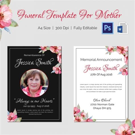 Funeral Program Template 16 Word Psd Document Download Free Premium Templates Funeral Invitation Template Word