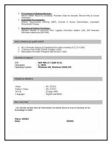 sap bi resume sle for fresher resume of sap mm