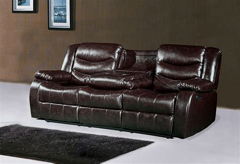 reclining sofa with drop console 644br brown leather reclining sofa with drop console