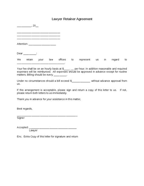 sle retainer agreement template best resumes
