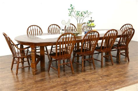 oak vintage dining set 54 quot table 8 leaves 10 chairs