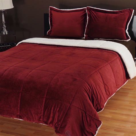 burgundy comforters cozelle micro mink three piece comforter set full queen